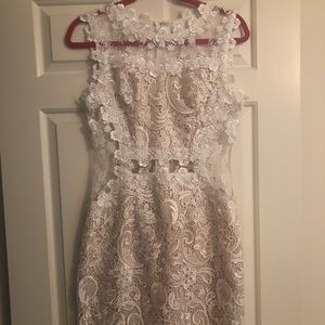 White lace dress w/ see through panels